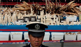A customs officer stands guard in front of confiscated ivory before destruction in Dongguan, China. Fueled by growing numbers of middle-class consumers in China, global ivory prices have soared and helped spark the ivory-motivated killings of 100,000 elephants between 2010 and 2012. (Associated Press)