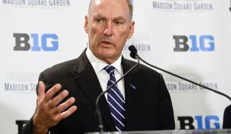 Jim Delany, Commissioner of the Big Ten Conference speaks during a news conference to announce a partnership with Madison Square Garden Tuesday, Dec. 9, 2014, in New York.  (AP Photo/Frank Franklin II)