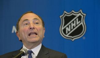 NHL Commissioner Gary Bettman speaks to the media, Tuesday, Dec. 9, 2014, after attending an NHL owners meeting in Boca Raton Fla. (AP Photo/Wilfredo Lee)