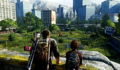 Joel and Ellie enjpy the post-apocalyptic view in the video game The Last of Us Remastered.