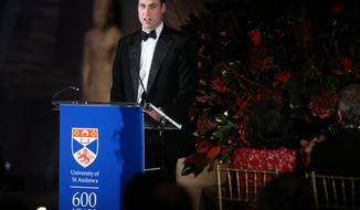 Britain's Prince William, the Duke of Cambridge, delivers remarks during the St. Andrews 600th Anniversary Dinner at the Metropolitan Museum of Art, Tuesday, Dec. 9, 2014 in New York. (AP Photo/The New York Times, Richard Perry, Pool)
