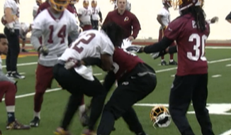 CSN Washington video grab of fight at Redskins practice.