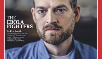 """Dr. Kent Brantly is named as one of the """"Ebola Fighters"""" cited as Person of The Year for 2014 by Time magazine. Dr. Brantly and others said their faith motivates them to serve others. (AP Photo/Time Magazine)"""