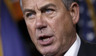House Speaker John Boehner of Ohio, holds what may be his last news conference of the 113th Congress on Thursday, Dec. 11, 2014, on Capitol Hill in Washington. (AP Photo/J. Scott Applewhite) ** FILE **