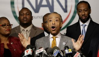 FILE - In this Thursday, Dec. 4, 2014, file photo, Rev. Al Sharpton speaks during a news conference at the National Action Network headquarters in New York. Established civil rights organizations, like Sharpton's National Action Network, have called for people to gather in Washington on Saturday, Dec. 13, 2014, for a national march with the families of the two unarmed black men who died at the hands of white police officers. (AP Photo/Seth Wenig, File)