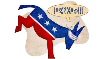 Blind Partisanship Donkey Illustration by Greg Groesch/The Washington Times