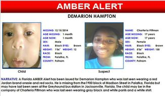 In this Amber alert flyer made available by the Florida Department of Law Enforcement on Tuesday, Dec. 16, 2014, shows  a missing 5-week-old north Florida boy who has been missing from his Palatka, Fla. home. Demarion Hampton was last seen in the company of  Charteria Pittman, 17. (AP Photo/Florida Department of Law Enforcement)