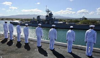 Sailors stand at attention as the aircraft carrier USS Nimitz (CVN 68) passes the USS Missouri Battleship Memorial. Nimitz is participating in Rim of the Pacific (RIMPAC) 2012. Twenty-two nations, more than 40 ships and submarines, more than 200 aircraft and 25,000 personnel are participating in RIMPAC exercise from June 29 to Aug. 3, in and around the Hawaiian Islands. RIMPAC is the world's largest international maritime exercise. (U.S. Navy photo by Mass Communication Specialist Seaman Apprentice Ryan J. Mayes/Released)