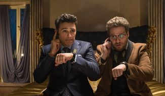 "Sony Pictures has canceled the release of ""The Interview,"" starring James Franco (left) and Seth Rogen, amid terrorist threats made by hackers. The hackers have recently been connected to North Korea, according to U.S. officials. (Associated Press)"
