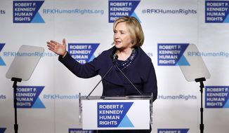 Former Secretary of State Hillary Rodham Clinton speaks after accepting the Robert F. Kennedy Ripple of Hope Award during a ceremony, Tuesday, Dec. 16, 2014 in New York. (AP Photo/Jason DeCrow)