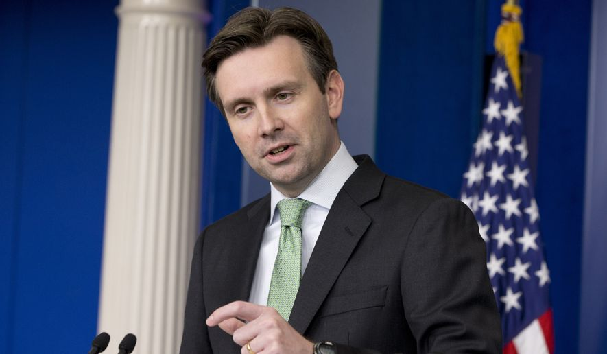 White House press secretary Josh Earnest answers questions about President Barack Obama's announced change in U.S. policy with Cuba, Wednesday, Dec. 17, 2014, during the daily briefing at the White House in Washington. (AP Photo/Jacquelyn Martin)