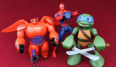 Deluxe Flying Baymax (Bandai), Giant Web Slinging Spider-Man (Hasbro) and Mega Mutant Leo (Playmates) are a few worthy gift ideas for young role players in the family. (Photograph by Joseph Szadkowski / The Washington Times)