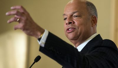 Homeland Security Secretary Jeh Johnson speaks at the Professional Services Council Thursday about his department's implementation efforts related to President Barack Obama's action on immigration, and his need for a fully funded budget. (Associated Press)