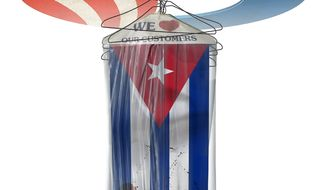 Illustration on Obama's normalization policy towards Cuba by Alexander Hunter/The Washington Times