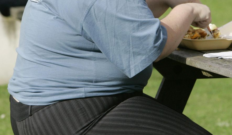 In this Wednesday, Oct. 17, 2007, file photo, an overweight person eats at a bench in London. The European Court of Justice says obesity can be a disability, a ruling that could have consequences for employers across the continent. (AP Photo/Kirsty Wigglesworth, file)