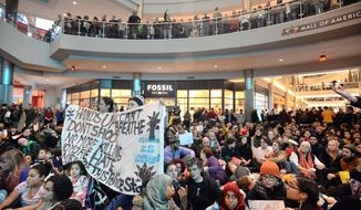 "Demonstrators filled the Mall of America rotunda and chanted ""Black lives matter"" to protest police brutality, Saturday, Dec. 12, 2014, in Bloomington, Minn.  The group Black Lives Matter Minneapolis had more than 3,000 people confirm on Facebook that they would attend. Attendance figures weren't immediately available. (AP Photo/The Star Tribune, Aaron Lavinsky)"