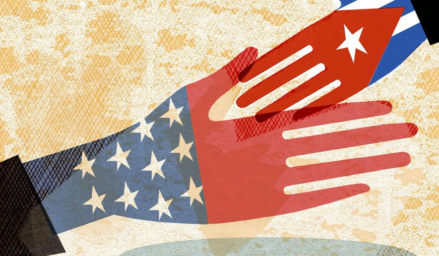 Illustration on Obama's new policy toward Cuba by Donna Grethen/Tribune Content Agency