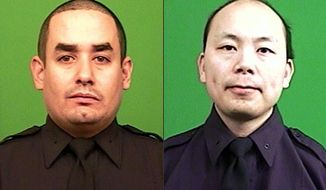 "This combination made from photos provided by the New York Police Department shows officers Rafael Ramos, left, and Wenjian Liu. Authorities say Ismaaiyl Brinsley, who vowed online to shoot two ""pigs"" in retaliation for the police chokehold death of Eric Garner, ambushed Ramos and Liu in a patrol car Saturday, Dec. 20, 2014, and fatally shot them in broad daylight before running to a subway station and killing himself. (AP Photo/New York Police Department)"