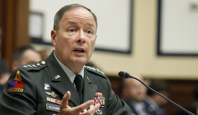 """The first commander of U.S. Cyber Command, then-Army Gen. Keith Alexander, gave Congress in 2013 one of its first public overviews of how quickly an offensive cyberwarfare mindset was spreading across the Pentagon. In military parlance, it means """"normalizing"""" cyberoperations into the daily routine. """"We have no alternative but to do so because every world event, crisis and trend now has a cyber-aspect to it, and decisions we make in cyberspace will routinely affect our physical or conventional activities and capabilities as well,"""" Gen. Alexander told lawmakers. (Associated Press)"""