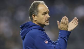 Indianapolis Colts head coach Chuck Pagano motivates his team during warm ups before an NFL football game against the Dallas Cowboys, Sunday, Dec. 21, 2014, in Arlington, Texas. (AP Photo/Tim Sharp)