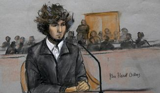 In this courtroom sketch, Boston Marathon bombing suspect Dzhokhar Tsarnaev is depicted sitting in federal court in Boston Thursday, Dec. 18, 2014, for a final hearing before his trial begins in January. Tsarnaev is charged with the April 2013 attack that killed three people and injured more than 260. He could face the death penalty if convicted. (AP Photo/Jane Flavell Collins) ** FILE **