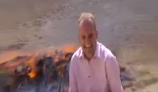 BBC reporter Quentin Sommerville had a hard time finishing up a segment recently as he stood downwind from an opium fire. (YouTube)