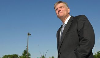 """Franklin Graham, seen here during a visit to Washington, D.C., is citing a """"God factor"""" in the outcome of the presidential election. (AP Photo) ** FILE **"""