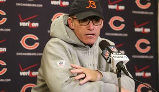 Chicago Bears head coach Marc Trestman speaks during a news conference after an NFL football game against the Minnesota Vikings, Sunday, Dec. 28, 2014, in Minneapolis. The Vikings won 13-9. (AP Photo/Jim Mone)