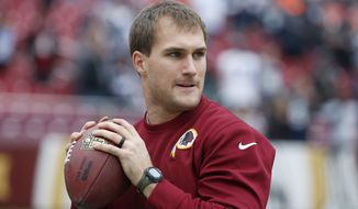 Washington Redskins quarterback Kirk Cousins (8) warms up before an NFL football game against the Washington Redskins in Landover, Md., Sunday, Dec. 28, 2014. (AP Photo/Alex Brandon)