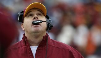 Washington Redskins head coach Jay Gruden looks skyward during the second half of an NFL football game against the Dallas Cowboys in Landover, Md., Sunday, Dec. 28, 2014. (AP Photo/Alex Brandon)