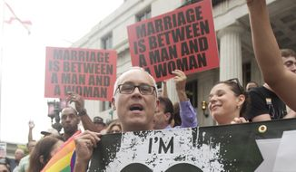 People for and against same-sex marriage stage protests outside the Dade County Courthouse during a hearing on gay marriage in Miami in this July 2, 2014, file photo. (AP Photo/J Pat Carter, File)
