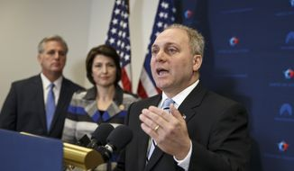 House Majority Whip Steve Scalise of La., right, with House Majority Leader Kevin McCarthy of Calif., left, and Rep. Cathy McMorris Rodgers, R-Wash., speaks to reporters on Capitol Hill in Washington, following a House GOP caucus meeting. Scalise acknowledged that he once addressed a gathering of white supremacists. Scalise served in the Louisiana Legislature when he appeared at a 2002 convention of the European-American Unity and Rights Organization. Now he is the third-highest ranked House Republican in Washington. (AP Photo/J. Scott Applewhite, File)