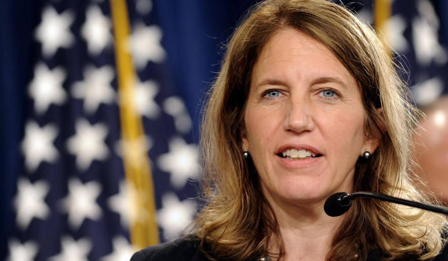 Health and Human Services Secretary Sylvia Mathews Burwell speaks at the Treasury Department in Washington on July 28, 2014. (Associated Press) ** FILE **