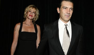 Actors Antonio Banderas, right, and his wife Melanie Griffith at the Imagen Awards in Beverly Hills, Calif. Griffith filed for divorce from Banderas on Friday June 6, 2014 in Los Angeles, citing irreconcilable differences as the reason for the end of their 18-year marriage. (AP Photo/Matt Sayles, FIle)