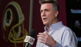 Washington Redskins President and General Manager Bruce Allen speaks to reporters during an NFL football news conference at the Redskins Park in Ashburn, Va., Wednesday, Dec. 31, 2014.   (AP Photo/Manuel Balce Ceneta)