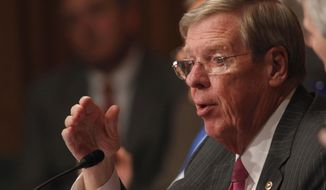 Sen. Johnny Isakson, R-Ga., speaks on Capitol Hill, in Washington, Tuesday, May 21, 2013. (AP Photo/Charles Dharapak, File) ** FILE **
