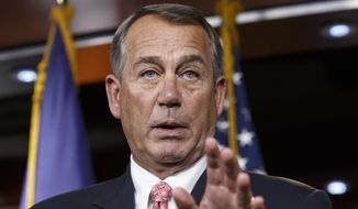 In this Dec. 11, 2014, file photo, House Speaker John Boehner of Ohio speaks during a news conference on Capitol Hill in Washington. (AP Photo/J. Scott Applewhite, File)