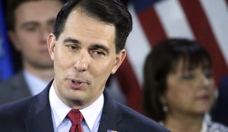 Wisconsin Republican Gov. Scott Walker speaks in West Allis, Wis., on Nov. 4, 2014. More than a dozen potential Republican candidates are contemplating White House bids in 2016 in what's shaping up as a crowded and diverse field. (Associated Press) **FILE**
