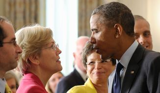 Liberals, led by Sen. Elizabeth Warren of Massachusetts, are taking on President Obama and so-called Wall Street Democrats in an effort to thwart confirmation of a key Treasury nominee. (Association Press)