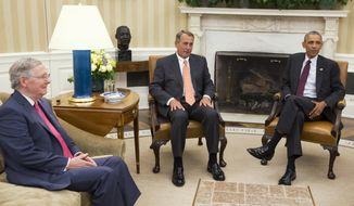 FILE - In this Sept. 9, 2014 file photo, President Barack Obama meets with Senate Minority Leader Mitch McConnell of Ky., left, and House Speaker John Boehner of Ohio in the Oval Office of the White House in Washington. The new Congress convenes Tuesday with Republicans in control of the House and the Senate as a formidable counterpoint to President Barack Obama in his final two years in office. Obama has the power to veto legislation, an action he's only taken twice in six years. Expect plenty more in the next 24 months in showdowns between the Democratic president and the GOP-led Congress.  (AP Photo/Evan Vucci, File)