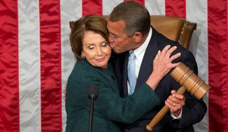 Give and Take: House Speaker John A. Boehner took the gavel and gave a kiss to Minority Leader Nancy Pelosi during the opening session of the 114th Congress.