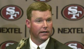 New San Francisco 49ers vice president of player personnel Scot McCloughan gestures during a news conference in Burlingame, Calif., Wednesday, Feb. 2, 2005. He replaces general manager Terry Donahue, who was fired last month. McCloughan was the Seattle Seahawks' director of college scouting. (AP Photo/Paul Sakuma)