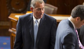 House Speaker John Boehner of Ohio walks the floor of the House Chambers on Capitol Hill in Washington, Tuesday, Jan. 6, 2015, as members of the House of Representatives gathered for opening session of the 114th Congress. Boehner is expected to win a third despite a tea party-backed effort to unseat him, and Sen. Mitch McConnell, R-Ky., ascends to majority leader of the Senate after Democrats lost control the wake of November's midterm elections. (AP Photo/Pablo Martinez Monsivais )