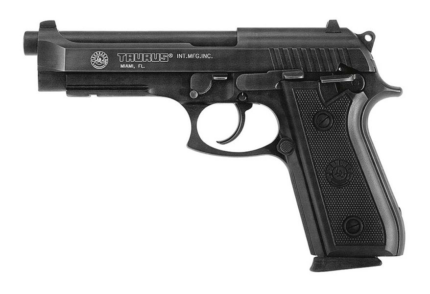 The Taurus PT92 is a double action/single action, 9x19mm Parabellum, double-stack magazine, semi-automatic, short recoil action pistol manufactured by Taurus in the former Beretta factory in Sao Paulo, Brazil. A large contract for the Beretta 92 was with the Brazilian army, for which Beretta set up a factory in Brazil. This factory was later sold to the Brazilian gunmaker Taurus. Taurus makes these pistols (called the PT92) without the need for a license from Beretta since their design is based on the original Beretta 92, whose patents have since expired. Like the Beretta, the Taurus PT92 utilizes the open-slide design where the upper portion of the slide is cut away exposing much of the barrel itself. The original PT92 was exactly like the original Beretta 92, though it was also unusual for the time in that it featured a squared trigger guard for supporting the index finger of the opposite hand while firing, a feature which was subsequently introduced to the Beretta 92 with the 92SB-F (92F) model in 1985. The Taurus PT92 is less expensive than the Beretta 92 in most cases can be had for around $450.