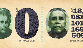 National Debt Comparison (Illustration by Greg Groesch/The Washington Times)