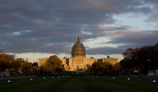 This Nov. 11, 2014, file photo shows the U.S. Capitol Building illuminated by the setting sun on the National Mall in Washington. (AP Photo/Carolyn Kaster, File)