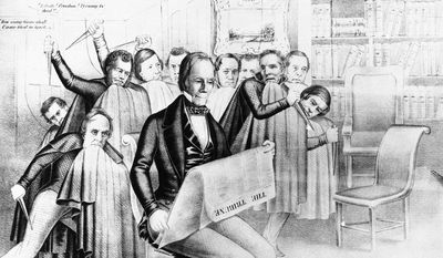 This cartoon of the 1840 Whig Party campaign of 1840 shows the Harrison wing of the Whigs beating Henry Clay (shown reading a newspaper) by political maneuvering. Harrison later defeated Martin van Buren. (AP Photo)