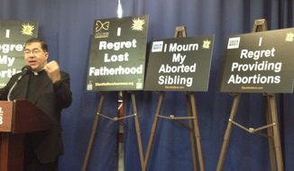 Father Frank Pavone, national director of Priests for Life, joined other pro-life leaders Thursday at the National Press Club in Washington, D.C., to announce a new project of the Silent No More Awareness Campaign that will focus on grandparents, siblings, clinic staff and others impacted by abortion. (The Washington Times)