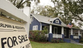 FILE - In this March 7, 2014 photo, a realty sign hangs in front of a home for sale in Orlando, Fla.  Freddie Mac reports on average U.S. mortgage rates on Thursday, Jan. 8, 2015. (AP Photo/John Raoux, File)