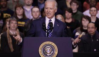 Vice President Joe Biden speaks before President Barack Obama at Pellissippi State Community College Friday, Jan. 9, 2015, in Knoxville, Tenn. Obama is promoting a plan to make publicly funded community college available to all students. (AP Photo/Mark Humphrey)